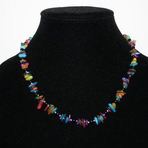 Black and colorful shell beaded necklace adjust.
